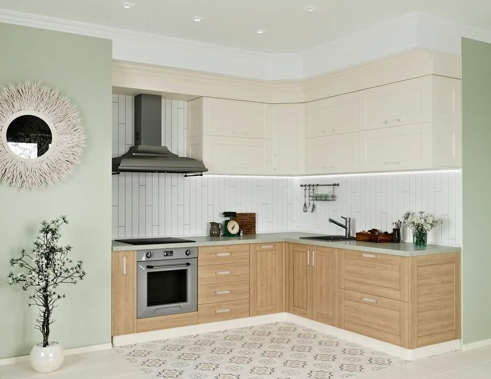 Кухня угловая, Alvic/Egger матовый, магнолия/дуб светлый Изображение