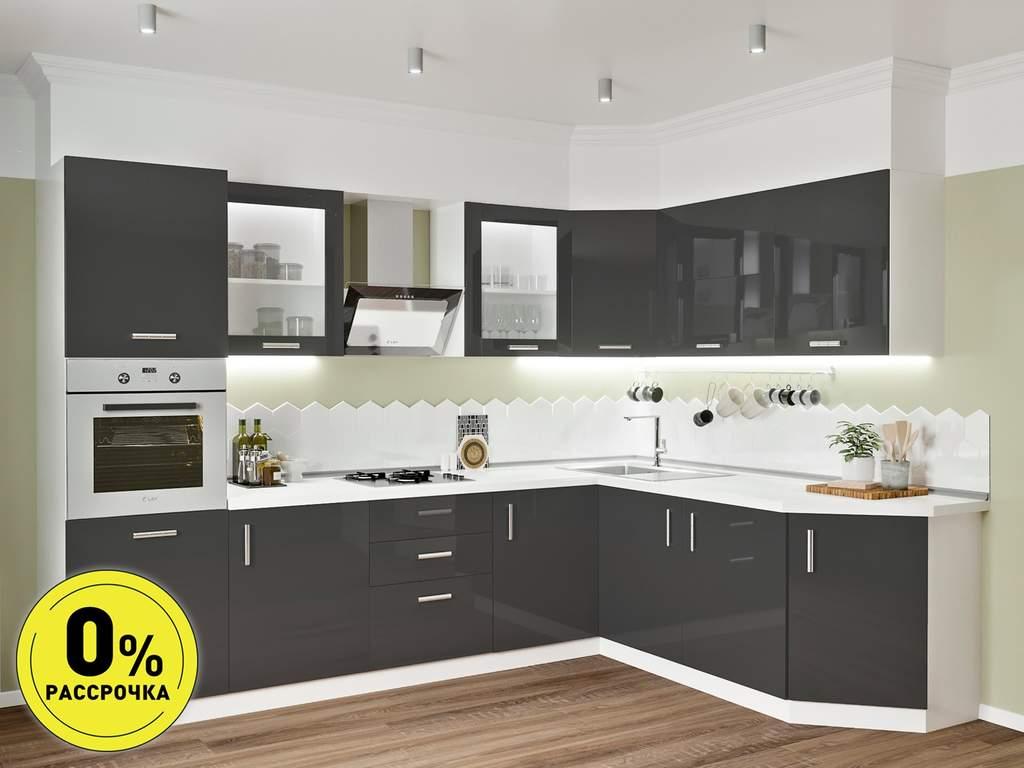 Кухня угловая ТБМ Люкс «Алекса» (3.1x1.9 м, антрацит) Изображение