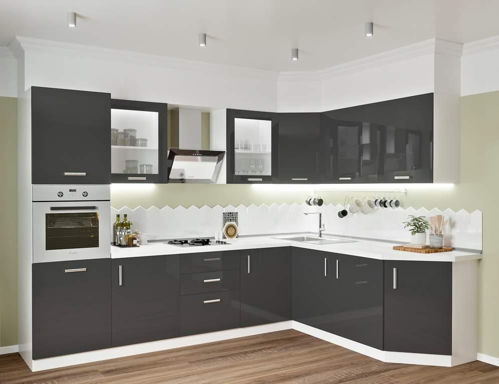 Кухня угловая, Alvic глянец, антрацит Изображение