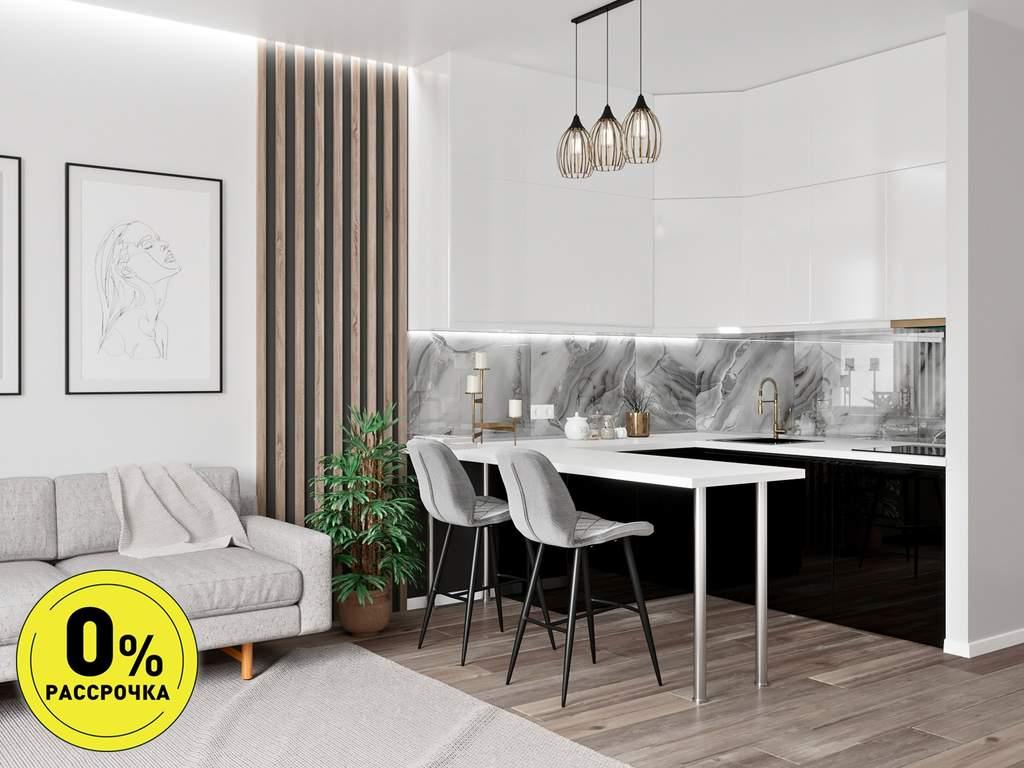 Кухня угловая ТБМ Люкс «Одри» (1.8x1.8 м, белый/черный) Изображение