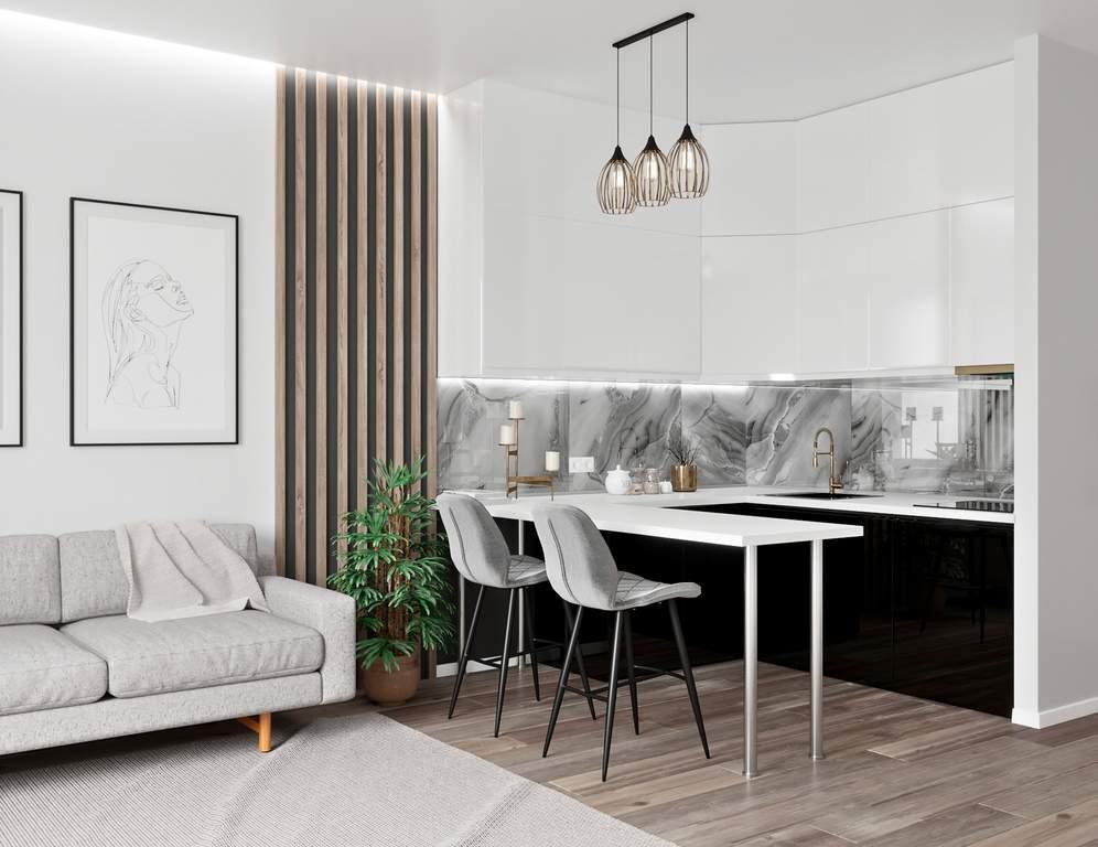Кухня угловая, Alvic глянец, белый/черный Изображение