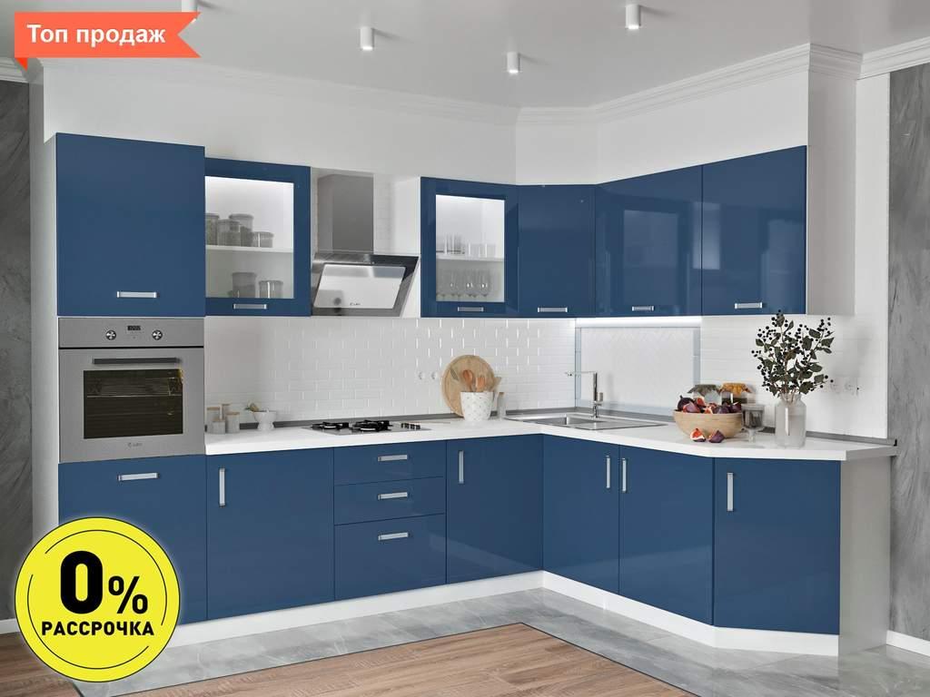 Кухня угловая ТБМ Люкс «Алекса» (3.1x1.9 м, индиго) Изображение