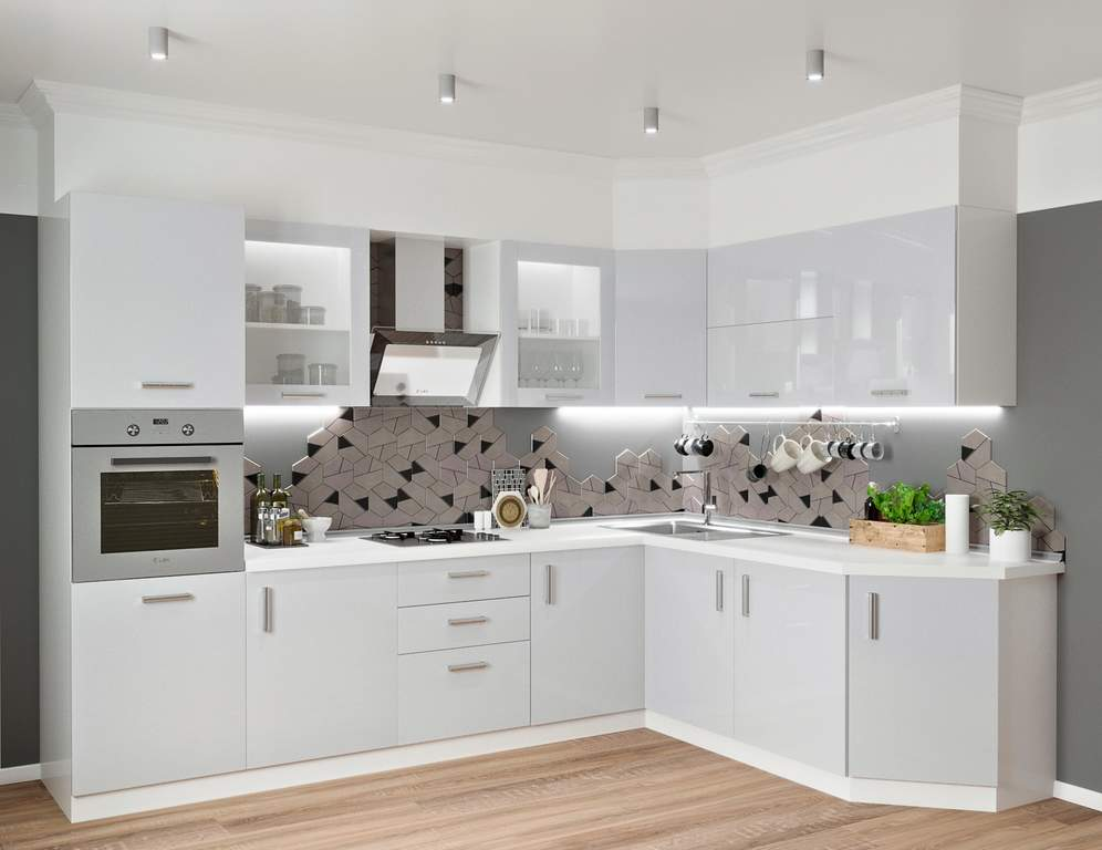 Кухня угловая ТБМ Люкс «Алекса» (3.1x1.9 м, серый) Изображение 2