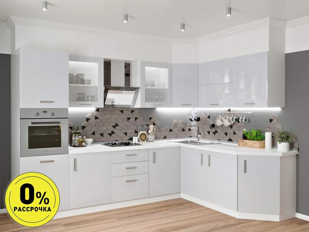 Кухня угловая ТБМ Люкс «Алекса» (3.1x1.9 м, серый) Изображение