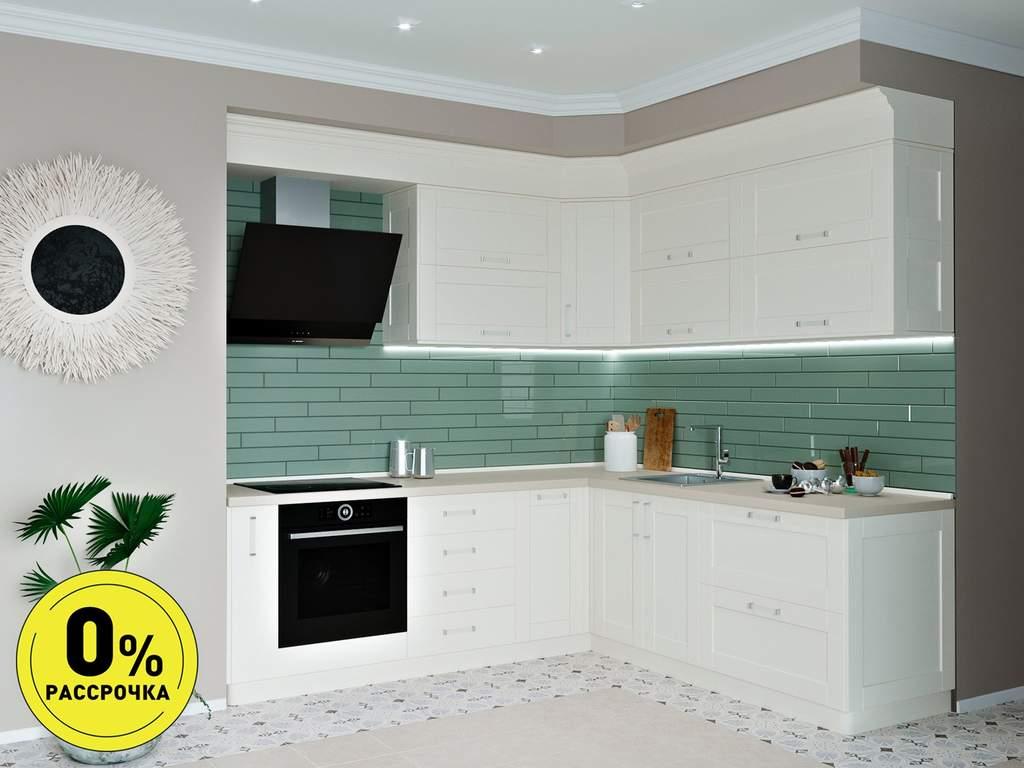 Кухня угловая ТБМ Люкс «Келли» (2.5x1.8 м, белый) Изображение