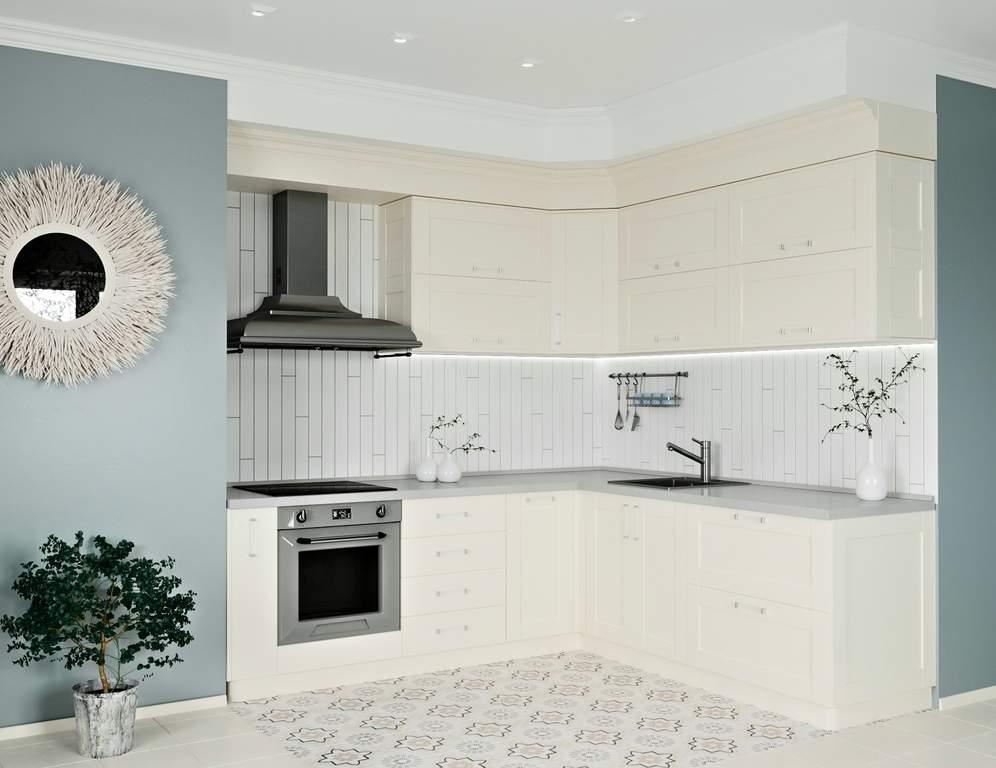 Кухня угловая, Alvic матовый, магнолия Изображение