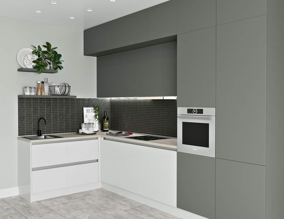 Кухня угловая, Модерн AGT глянец белый/матовый серый Изображение