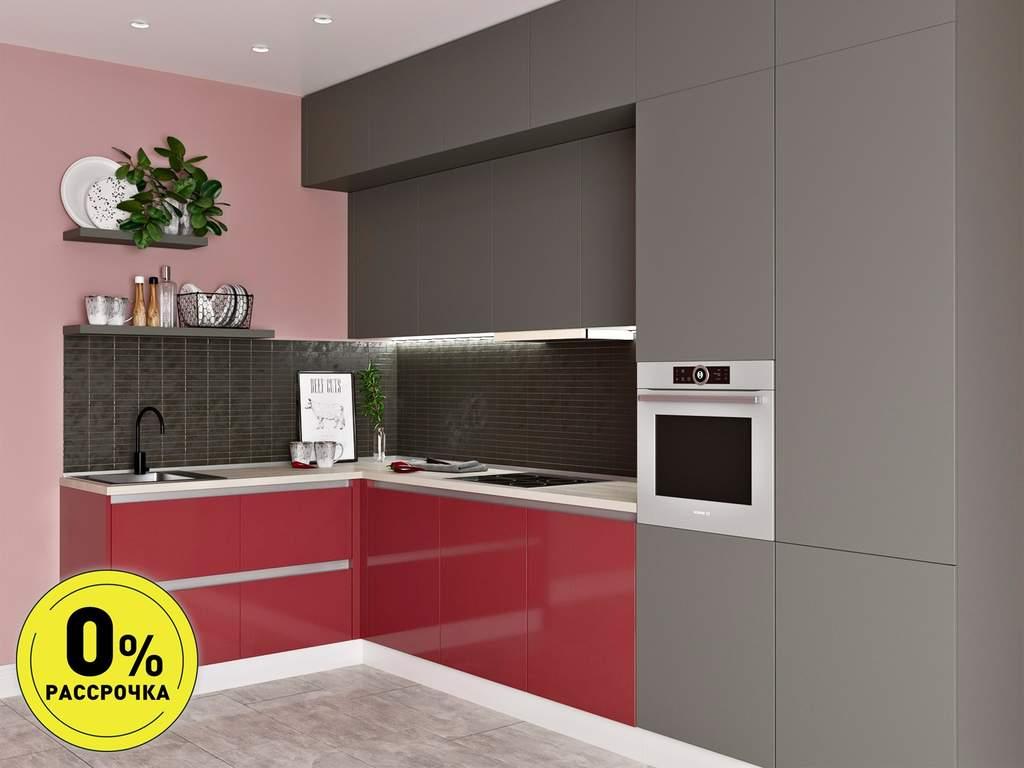 Кухня угловая ТБМ Люкс «Клэр» (3.6х1.2 м, красный/серый) Изображение