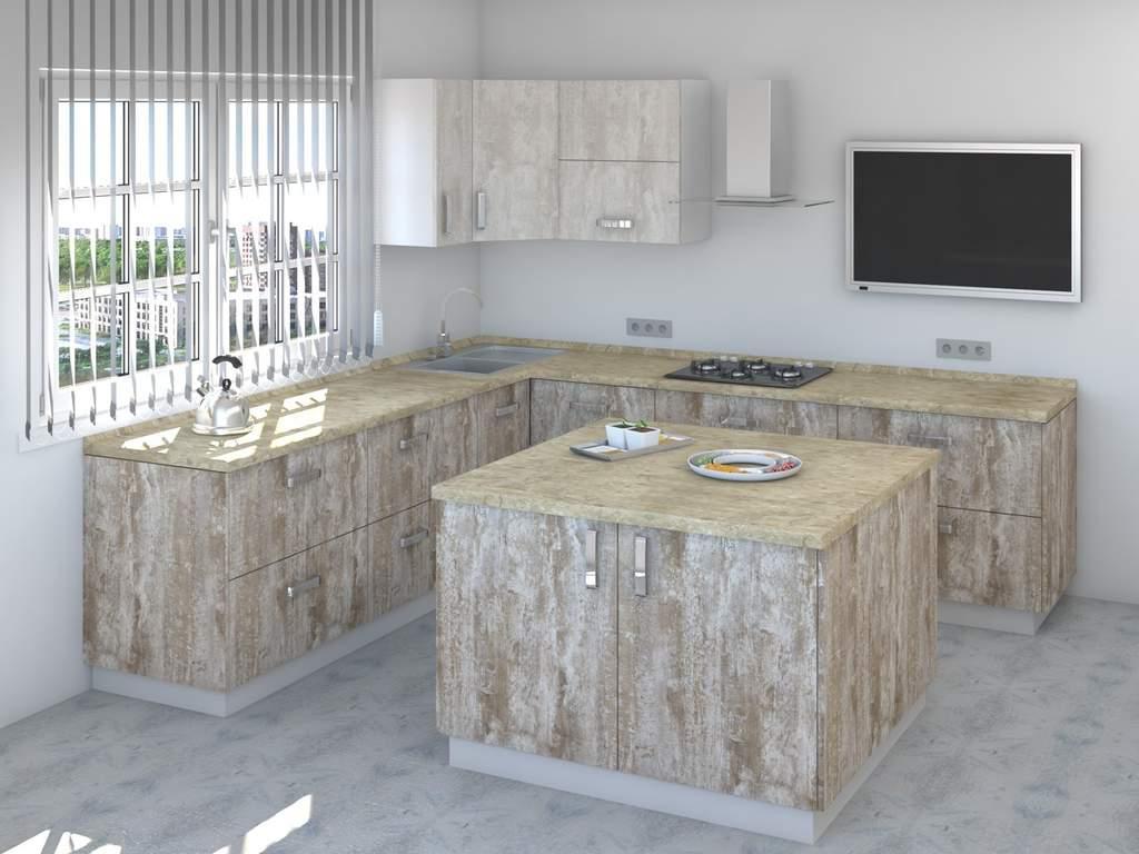 Кухня с островом ТБМ Люкс «Мэрилин» (2.2x2.4x1.2x1.2 м, бежевый/меланж) Изображение 2