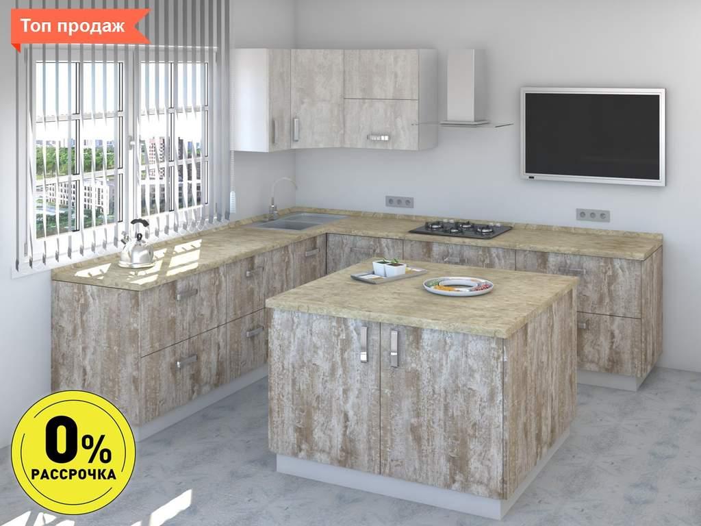 Кухня с островом ТБМ Люкс «Мэрилин» (2.2x2.4x1.2x1.2 м, бежевый/меланж) Изображение