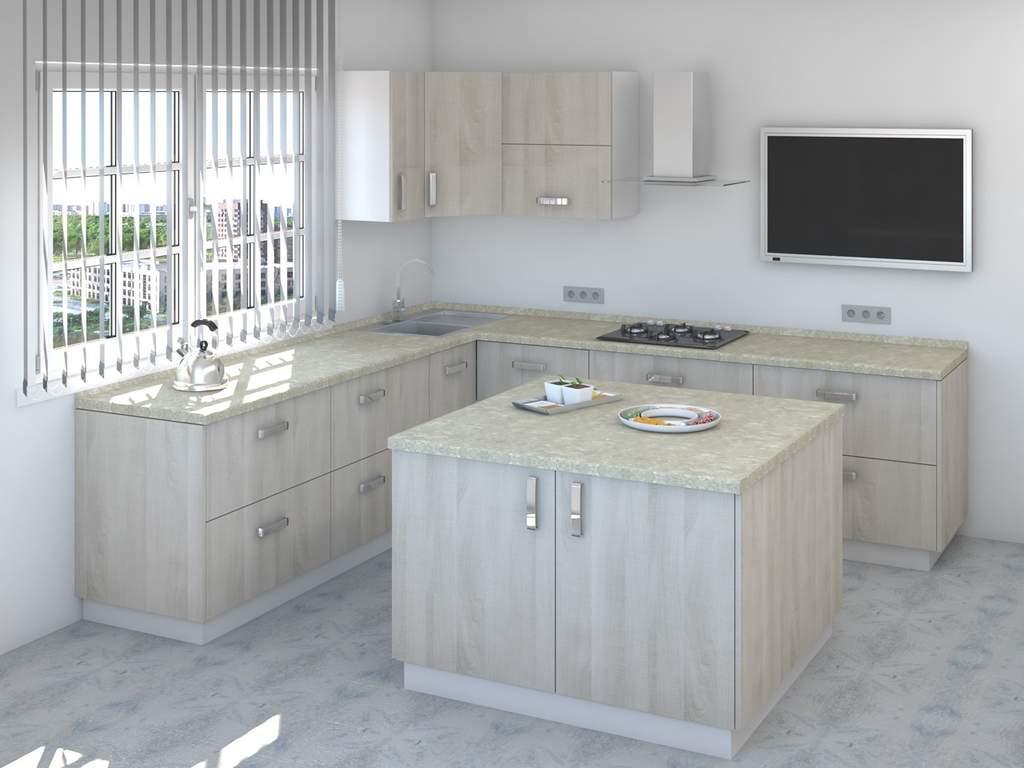 Кухня с островом ТБМ Люкс «Мэрилин» (2.2x2.4x1.2x1.2 м, бежевый) Изображение 2