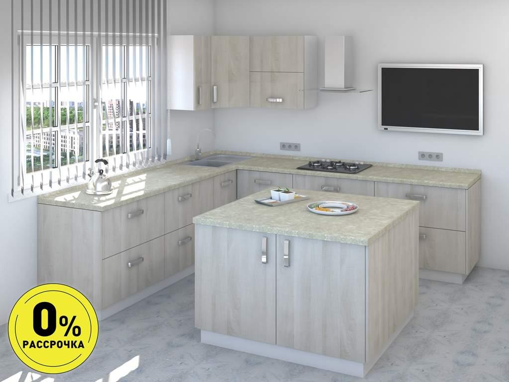 Кухня с островом ТБМ Люкс «Мэрилин» (2.2x2.4x1.2x1.2 м, бежевый) Изображение
