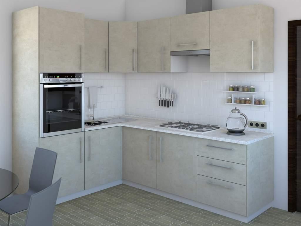 Кухня угловая ТБМ Люкс «Сильвия» (1.6x2.4 м, кашемир) Изображение 2