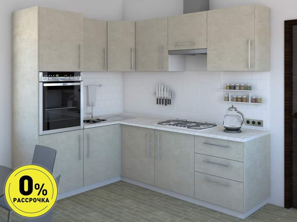 Кухня угловая ТБМ Люкс «Сильвия» (1.6x2.4 м, кашемир) Изображение