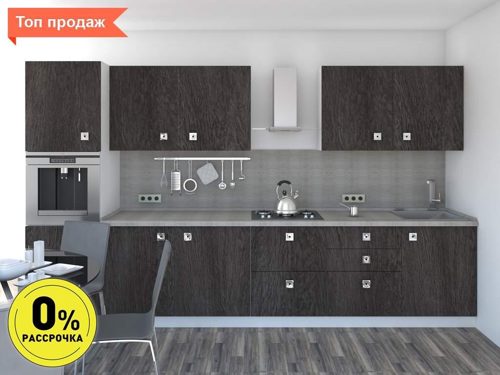 Кухня прямая ТБМ Люкс «Моника» (3.6 м, антрацит) Изображение