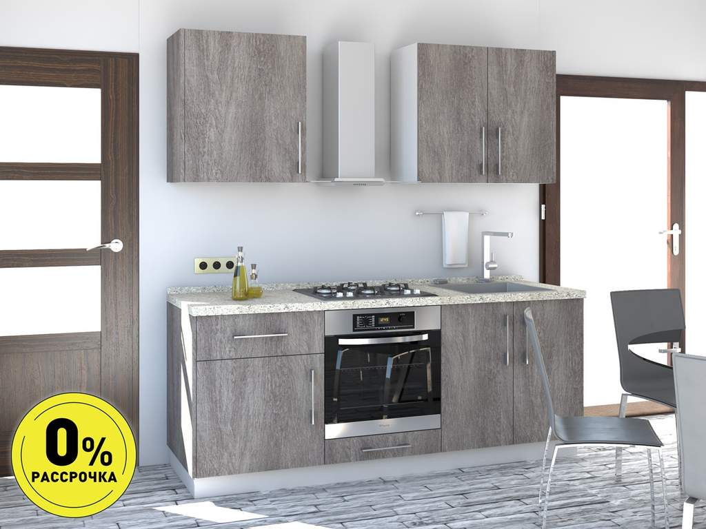 Кухня прямая ТБМ Люкс «Пенелопа» (1.8 м, серый) Изображение