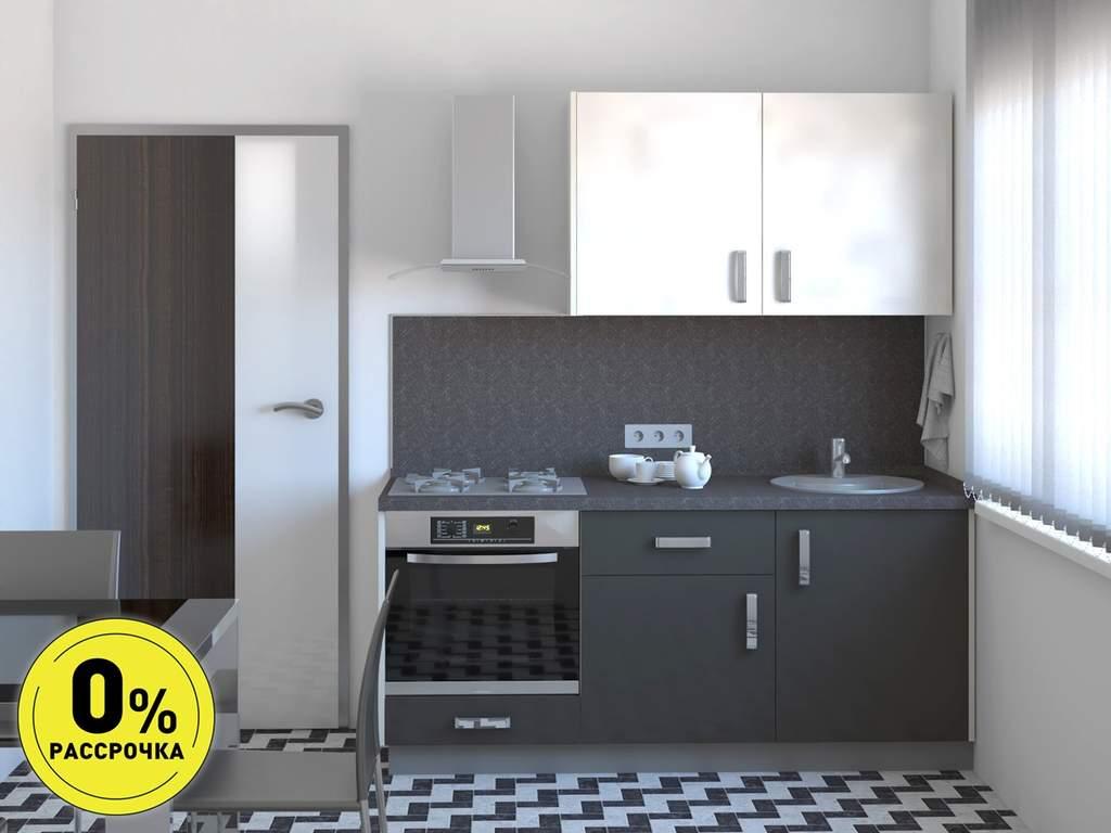 Кухня прямая ТБМ Люкс «Николь» (1.8 м, белый/графит) Изображение