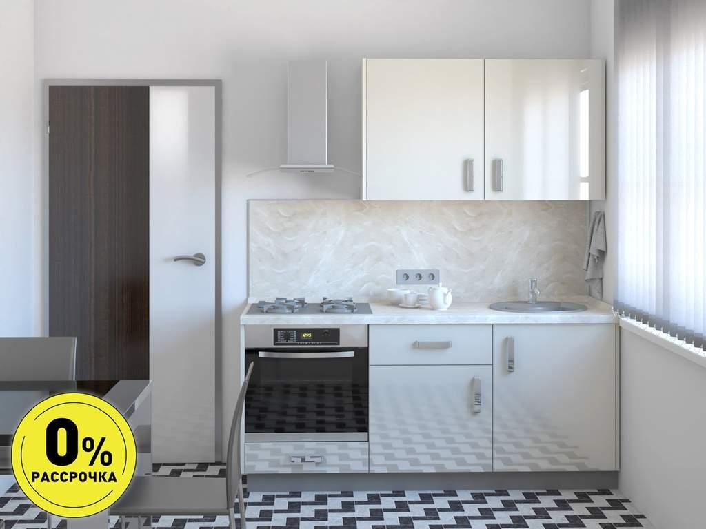 Кухня прямая ТБМ Люкс «Николь» (1.8 м, мрамор) Изображение