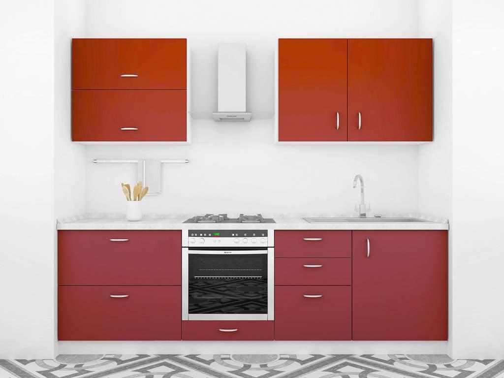 Кухня прямая ТБМ Люкс «Анита» (2.4 м, темно-красный) Изображение 2
