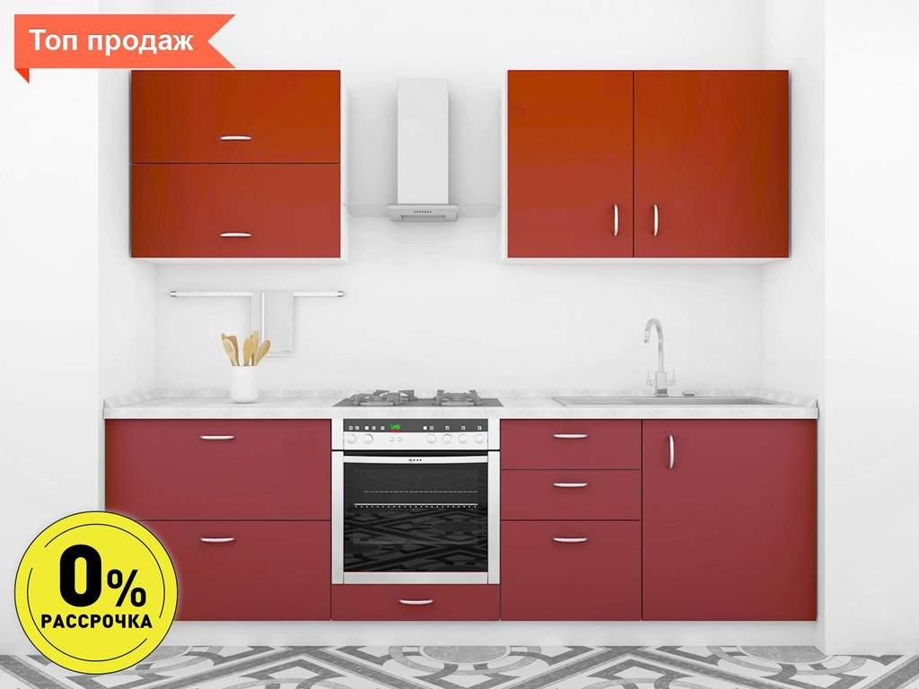 Кухня прямая ТБМ Люкс «Анита» (2.4 м, темно-красный) Изображение
