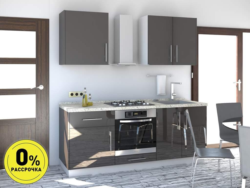 Кухня прямая ТБМ Люкс «Пенелопа» (1.8 м, антрацит) Изображение