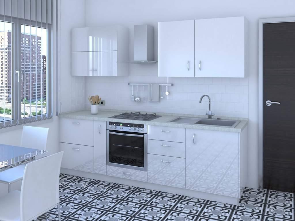 Кухня прямая ТБМ Люкс «Жасмин» (2.4 м, белый) Изображение 2
