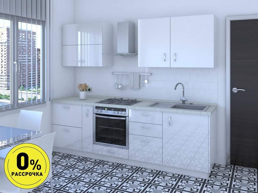 Кухня прямая ТБМ Люкс «Жасмин» (2.4 м, белый) Изображение
