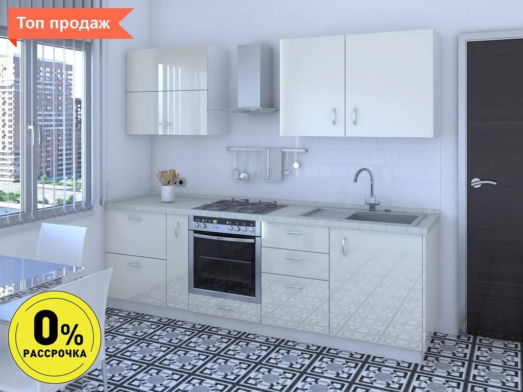 Кухня прямая ТБМ Люкс «Жасмин» (2.4 м, бежевый) Изображение