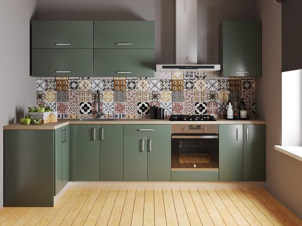 Кухня угловая ТБМ Люкс «Лиа» (1.21x2.81 м, светло-зеленый) Изображение 2