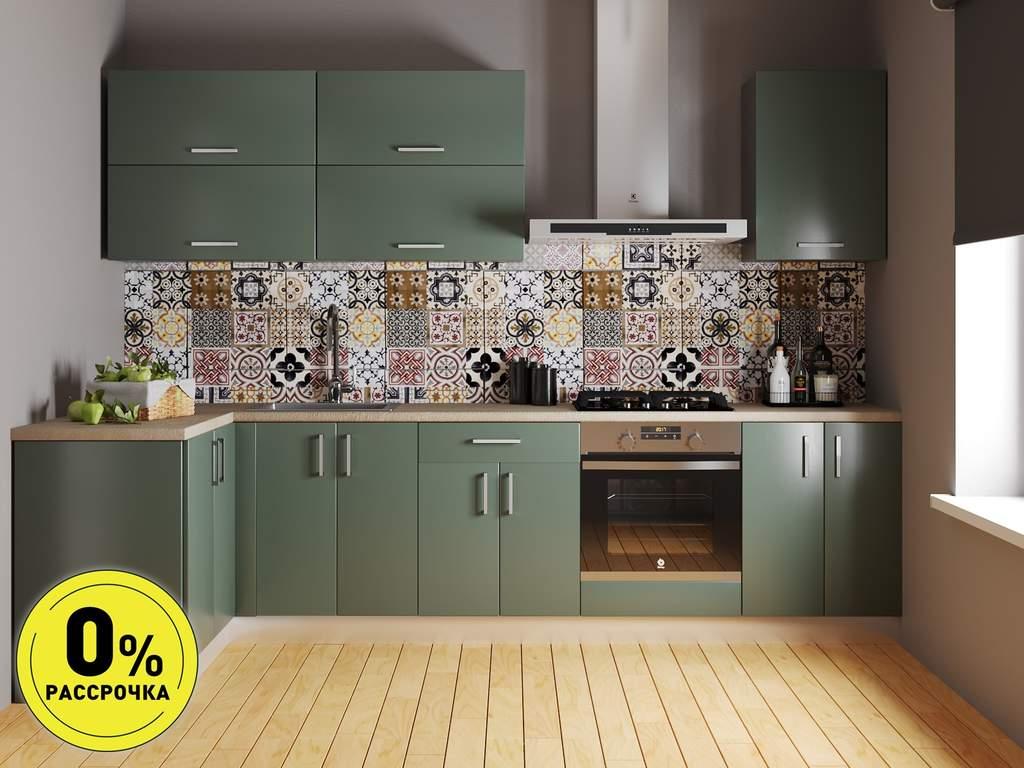 Кухня угловая ТБМ Люкс «Лиа» (1.21x2.81 м, светло-зеленый) Изображение