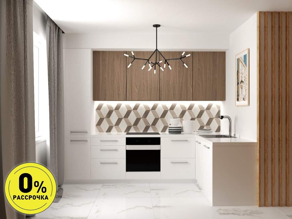 Кухня угловая ТБМ Люкс «Рене» (3.01x1.46 м, древесный/белый) Изображение