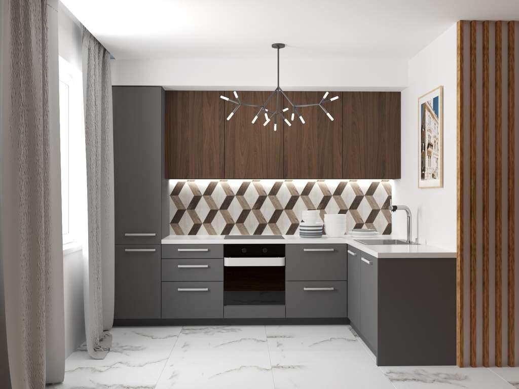 Кухня угловая ТБМ Люкс «Рене» (3.01x1.46 м, древесный/серый) Изображение 2
