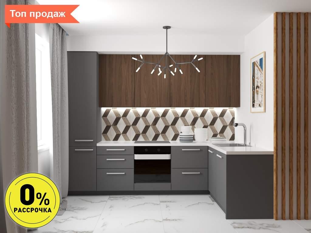 Кухня угловая ТБМ Люкс «Рене» (3.01x1.46 м, древесный/серый) Изображение