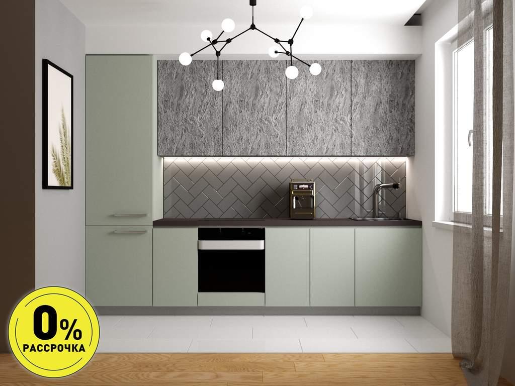 Кухня прямая ТБМ Люкс «Элис» (3.0 м, мята/серый) Изображение