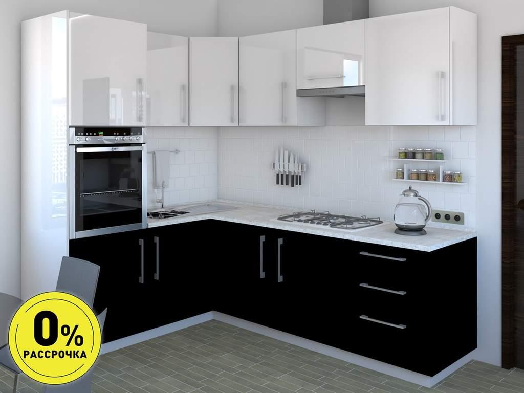 Кухня угловая ТБМ Люкс «Сильвия» (1.6x2.4 м, белый/черный) Изображение