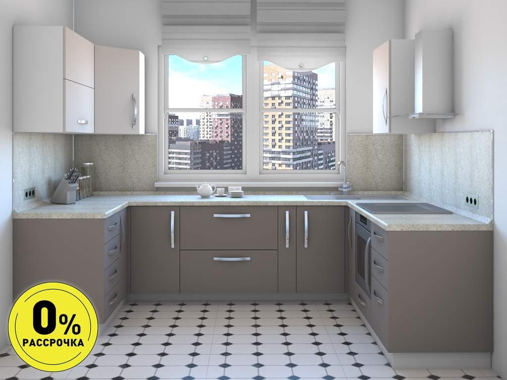 Кухня П-образняа ТБМ Люкс «Бонни» (1.41x3.02x2.31 м, серый) Изображение