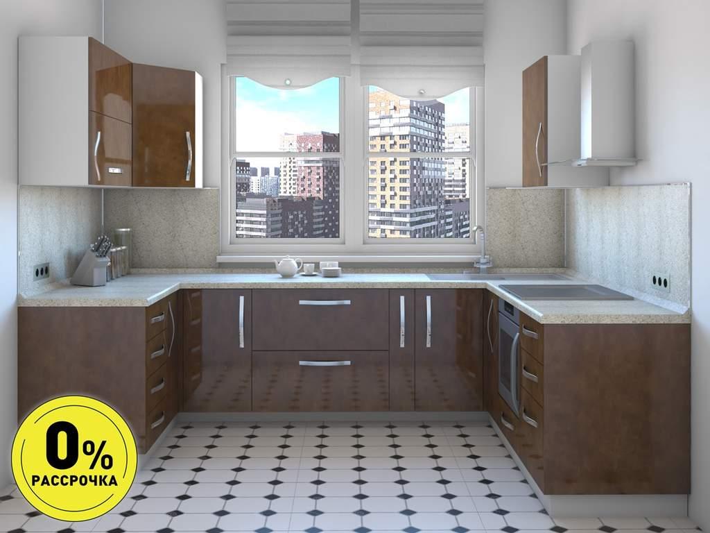 Кухня П-образняа ТБМ Люкс «Бонни» (1.41x3.02x2.31 м, медный) Изображение