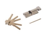 Цилиндр профильный ELEMENTIS 35(ключ)/45(ручка) ЦАМ, 5 перфорированных ключей, никелированный