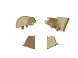 Комплект соединителей овального пристеночного бортика (2 заглушки, 90° внутренний, 90° внешний) пластик, слоновая кость