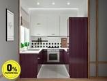 Кухня П-образняа ТБМ Люкс «Хелена» (2.2x2.2x2.2 м, белый/фиолетовый)