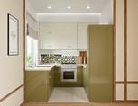 Кухня П-образная, AGT глянец, бежевый/кремовый