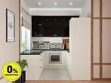 Кухня П-образняа ТБМ Люкс «Хелена» (2.2x2.2x2.2 м, черный/кремовый)