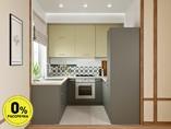 Кухня П-образняа ТБМ Люкс «Хелена» (2.2x2.2x2.2 м, бежевый/серый)