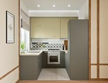Кухня П-образная, AGT матовый, бежевый/серый