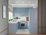 Кухня П-образная, AGT матовый, голубой