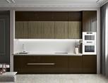 Кухня прямая, AGT глянец, коричневый/древесный