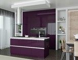 Кухня с островком, AGT глянец, фиолетовый
