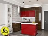 Кухня с островом ТБМ Люкс «Джульетта» (2.2x2.4x1.2x0.6 м, красный/эбеновое дерево)