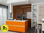 Кухня с островом ТБМ Люкс «Саманта» (2.4x2.1 м, коричневый/оранжево-кремовый)