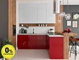 Кухня угловая ТБМ Люкс «Софи» (красный/серый)